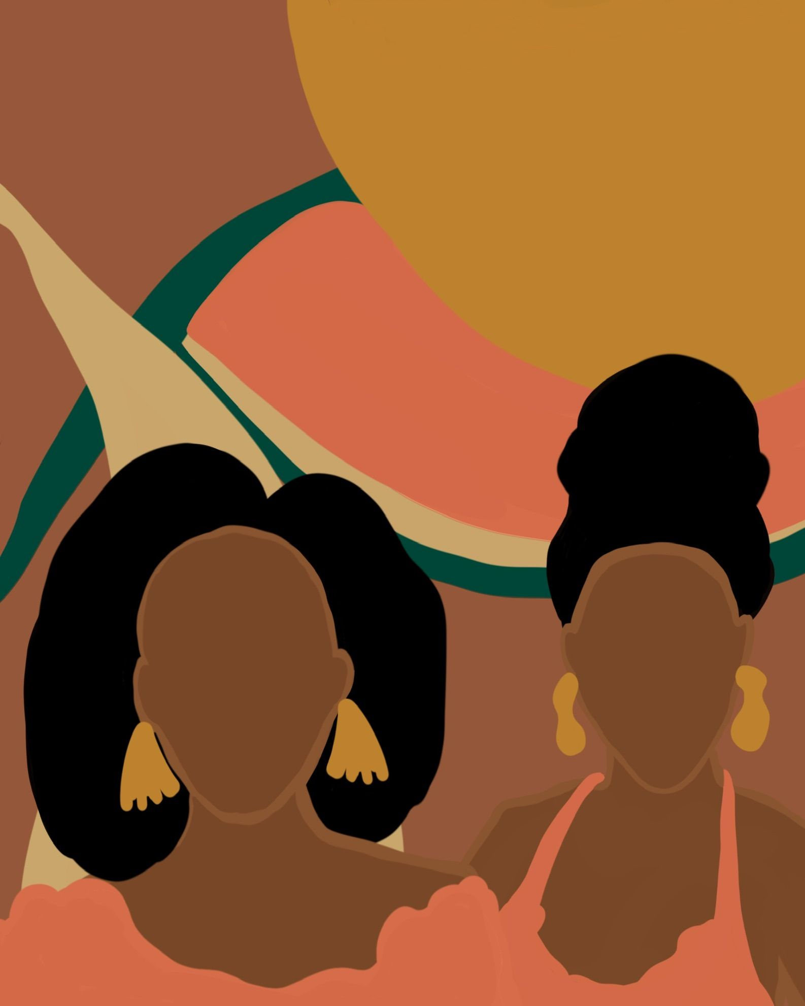 'Horizon' by KLigg is a colorful masterpiece featuring two Black women.